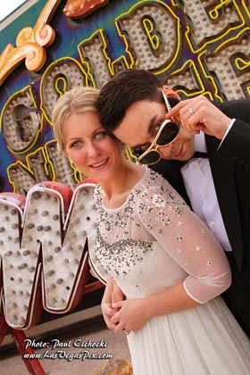 Neon Museum Boneyard Las Vegas Wedding photographer low priced