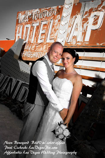 fremont street las vegas wedding photos neon museum bone yard