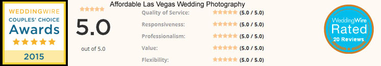 Wedding Wire Couples Choice award 2015 Affordable Las Vegas Wedding photography